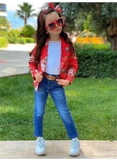 Riccotarz Kız Çocuk Çiçekli Ceketli Pantolonlu Kırmızı Alt Üst Takım Kırmızı